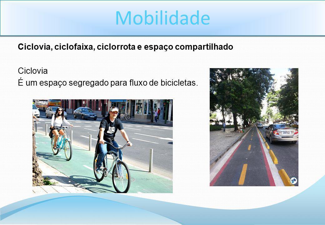 Ciclovia, ciclofaixa, ciclorrota e espaço compartilhado Ciclovia É um espaço segregado para fluxo de bicicletas.