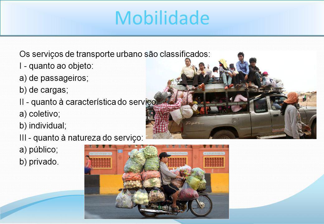 Os serviços de transporte urbano são classificados: I - quanto ao objeto: a) de passageiros; b) de cargas; II - quanto à característica do serviço: a)