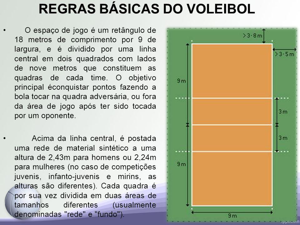 REGRAS BÁSICAS DO VOLEIBOL O espaço de jogo é um retângulo de 18 metros de comprimento por 9 de largura, e é dividido por uma linha central em dois qu
