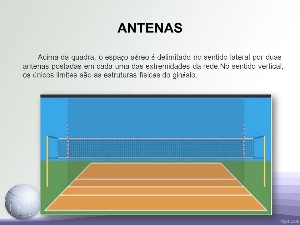 ANTENAS Acima da quadra, o espa ç o a é reo é delimitado no sentido lateral por duas antenas postadas em cada uma das extremidades da rede.No sentido
