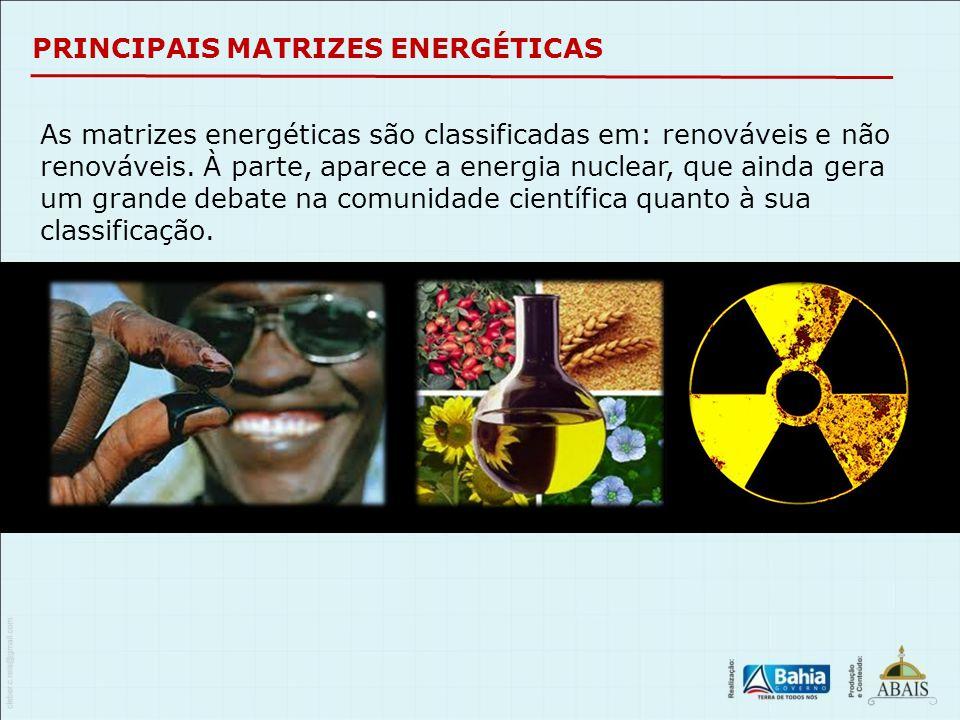 PRINCIPAIS MATRIZES ENERGÉTICAS As matrizes energéticas são classificadas em: renováveis e não renováveis. À parte, aparece a energia nuclear, que ain