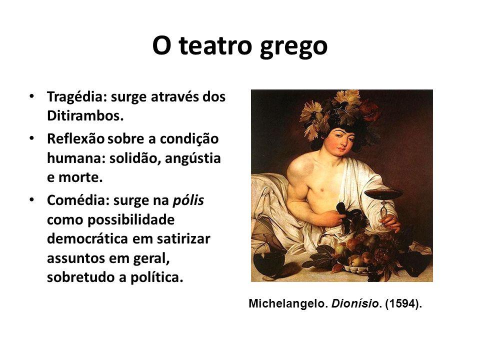 Teatro de Dionísio Ditirambos Personagens: vestidos de sátiros, o heroi e o anti- heroi.