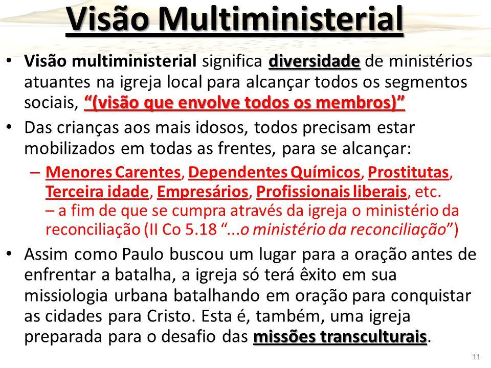 """Visão Multiministerial diversidade """"(visão que envolve todos os membros)"""" Visão multiministerial significa diversidade de ministérios atuantes na igre"""