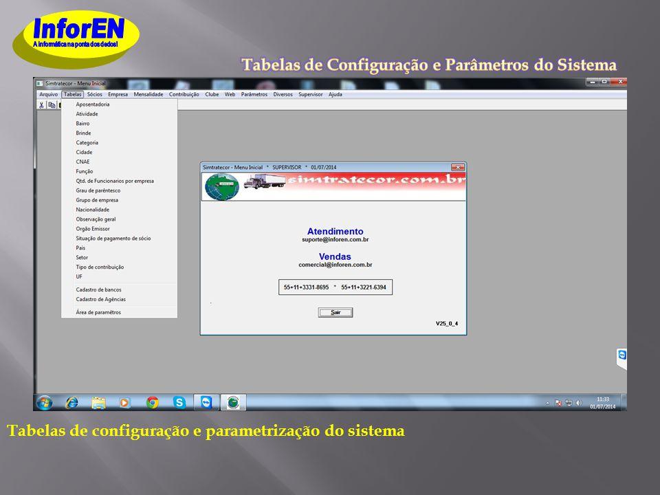 Tabelas de configuração e parametrização do sistema