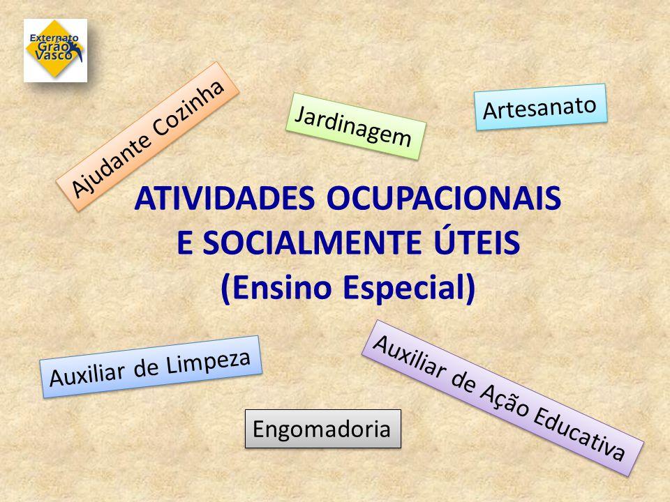 ATIVIDADES OCUPACIONAIS E SOCIALMENTE ÚTEIS (Ensino Especial) Jardinagem Artesanato Ajudante Cozinha Auxiliar de Ação Educativa Auxiliar de Limpeza En