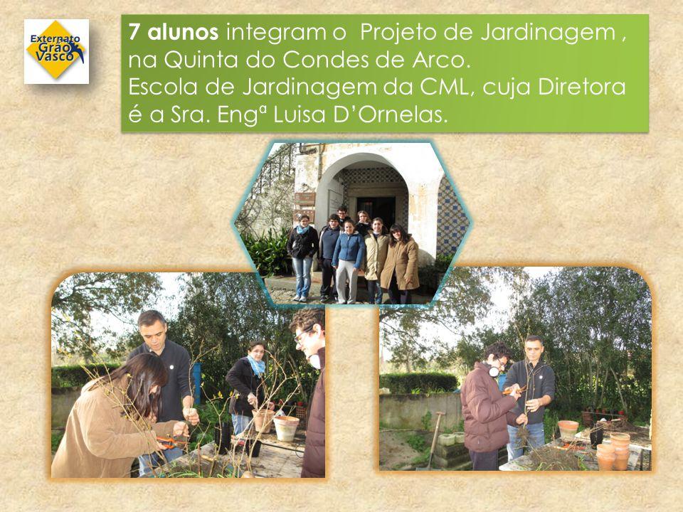 7 alunos integram o Projeto de Jardinagem, na Quinta do Condes de Arco. Escola de Jardinagem da CML, cuja Diretora é a Sra. Engª Luisa D'Ornelas. 7 al