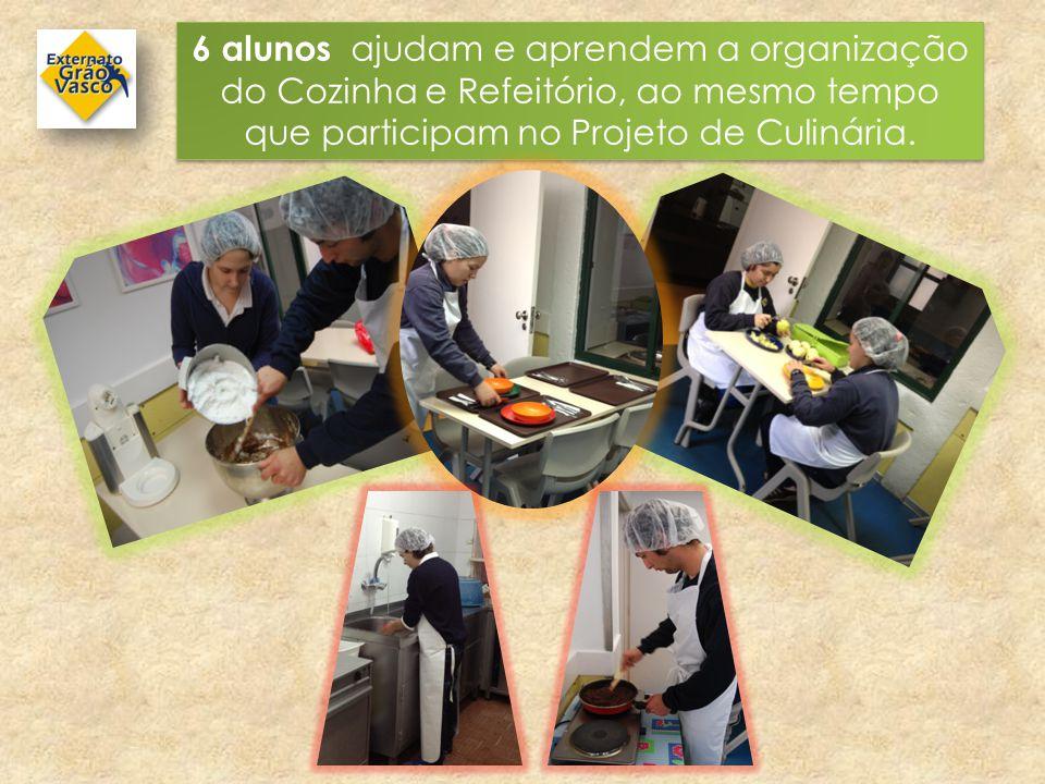 6 alunos ajudam e aprendem a organização do Cozinha e Refeitório, ao mesmo tempo que participam no Projeto de Culinária.