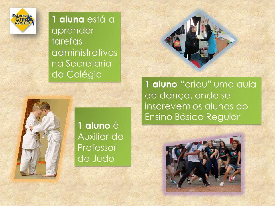 """1 aluna está a aprender tarefas administrativas na Secretaria do Colégio 1 aluno é Auxiliar do Professor de Judo 1 aluno """"criou"""" uma aula de dança, on"""