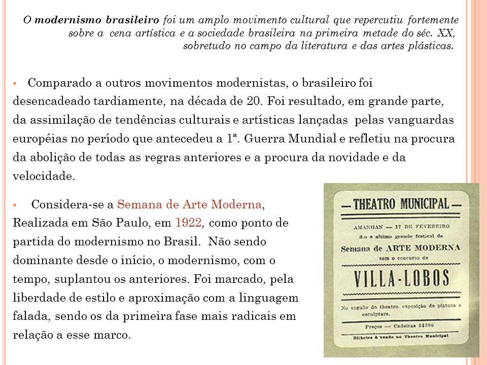  Comparado a outros movimentos modernistas, o brasileiro foi desencadeado tardiamente, na década de 20. Foi resultado, em grande parte, da assimilaçã