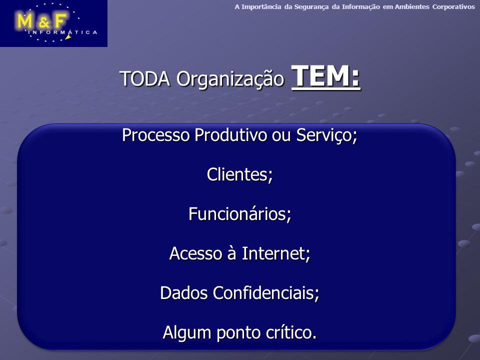A Importância da Segurança da Informação em Ambientes Corporativos TODA Organização TEM: Processo Produtivo ou Serviço; Clientes;Funcionários; Acesso à Internet; Dados Confidenciais; Algum ponto crítico.
