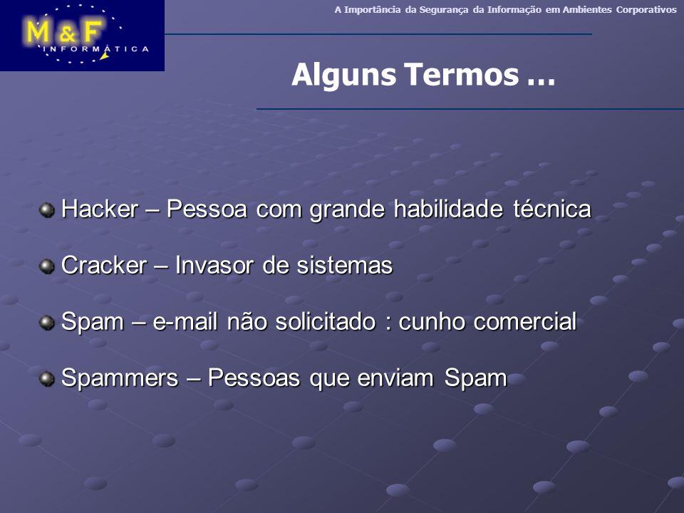 Hacker – Pessoa com grande habilidade técnica Hacker – Pessoa com grande habilidade técnica Cracker – Invasor de sistemas Cracker – Invasor de sistemas Spam – e-mail não solicitado : cunho comercial Spam – e-mail não solicitado : cunho comercial Spammers – Pessoas que enviam Spam Spammers – Pessoas que enviam Spam Alguns Termos … A Importância da Segurança da Informação em Ambientes Corporativos