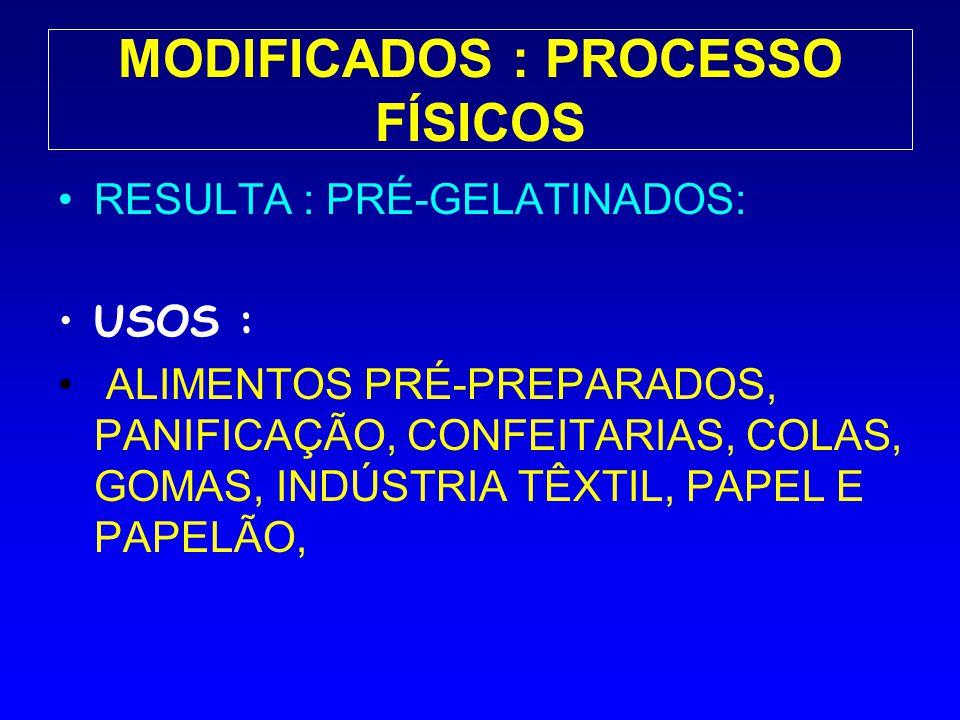 MODIFICADOS : PROCESSO FÍSICOS RESULTA : PRÉ-GELATINADOS: USOS : ALIMENTOS PRÉ-PREPARADOS, PANIFICAÇÃO, CONFEITARIAS, COLAS, GOMAS, INDÚSTRIA TÊXTIL,