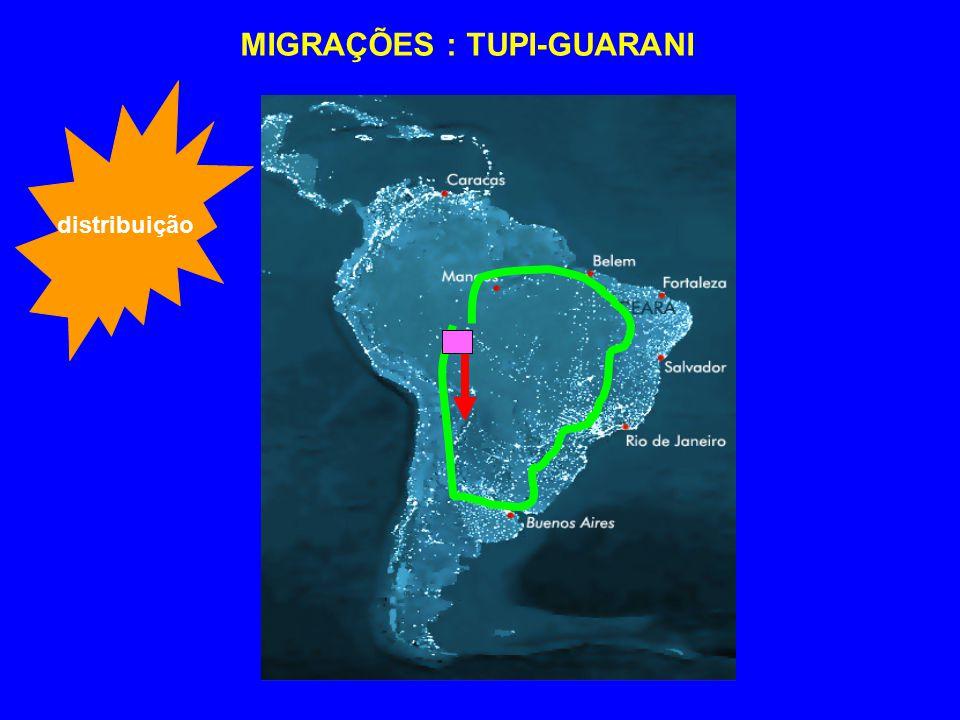 MIGRAÇÕES : TUPI-GUARANI distribuição