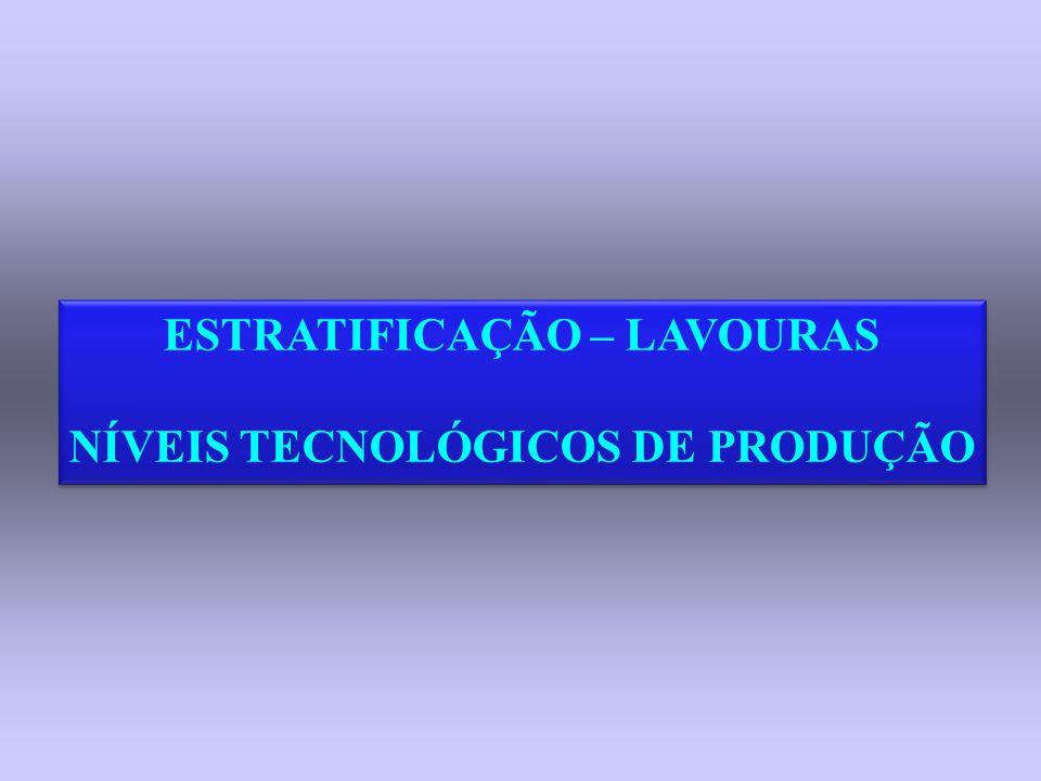 ESTRATIFICAÇÃO – LAVOURAS NÍVEIS TECNOLÓGICOS DE PRODUÇÃO ESTRATIFICAÇÃO – LAVOURAS NÍVEIS TECNOLÓGICOS DE PRODUÇÃO