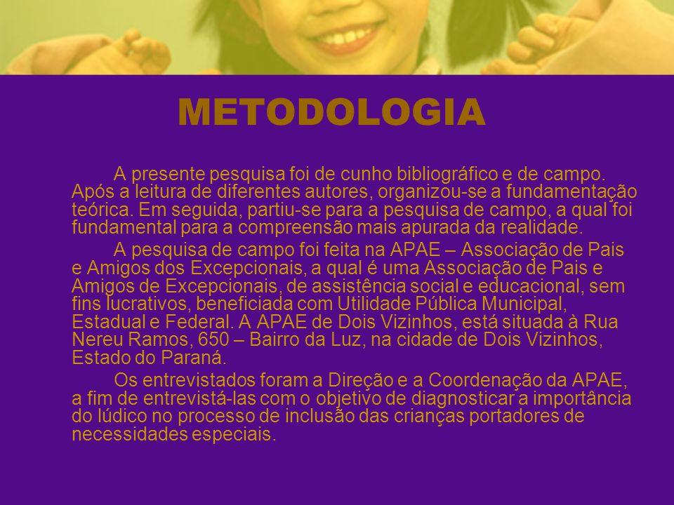 METODOLOGIA A presente pesquisa foi de cunho bibliográfico e de campo. Após a leitura de diferentes autores, organizou-se a fundamentação teórica. Em