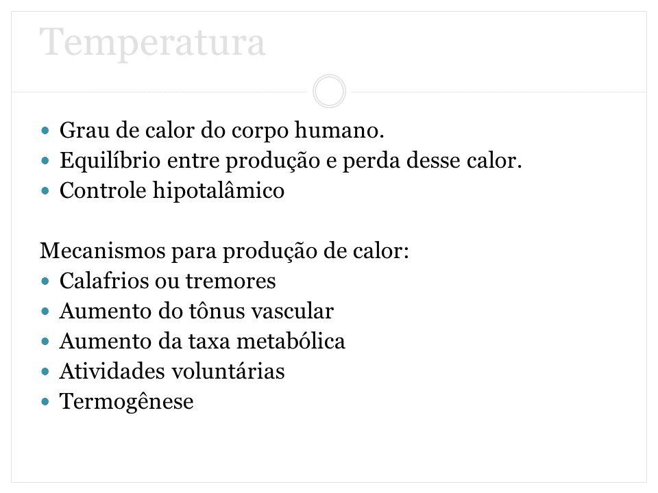 Temperatura Grau de calor do corpo humano. Equilíbrio entre produção e perda desse calor. Controle hipotalâmico Mecanismos para produção de calor: Cal