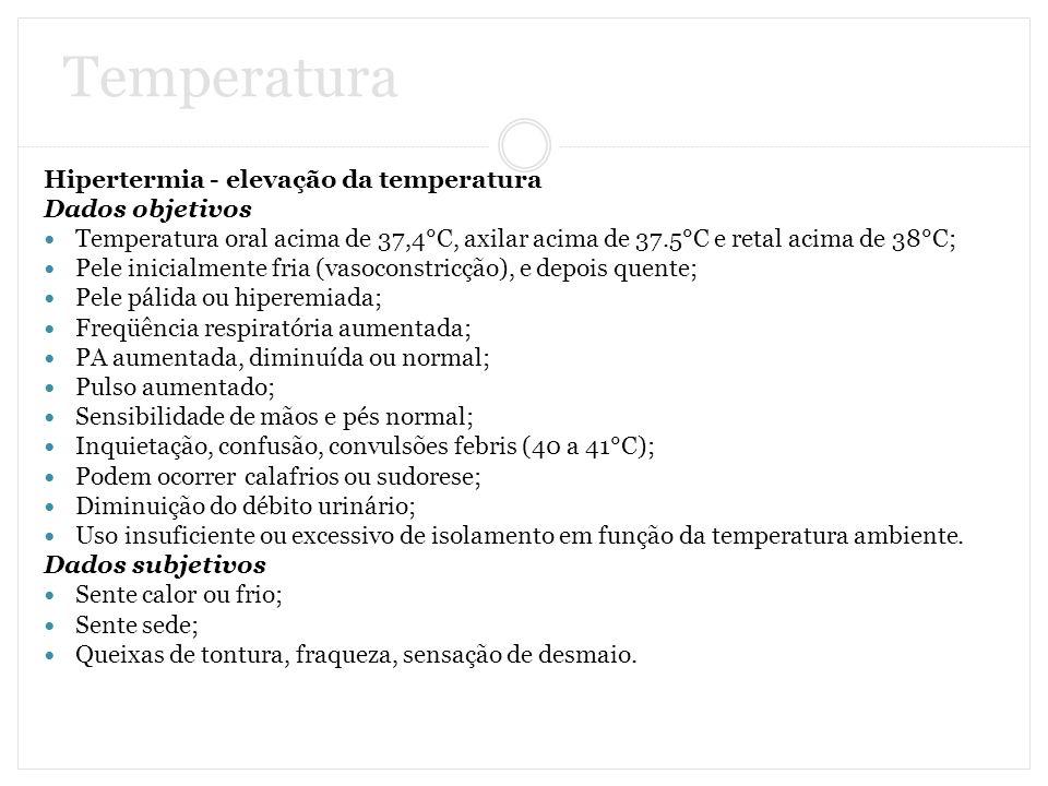 Temperatura Hipertermia - elevação da temperatura Dados objetivos Temperatura oral acima de 37,4°C, axilar acima de 37.5°C e retal acima de 38°C; Pele