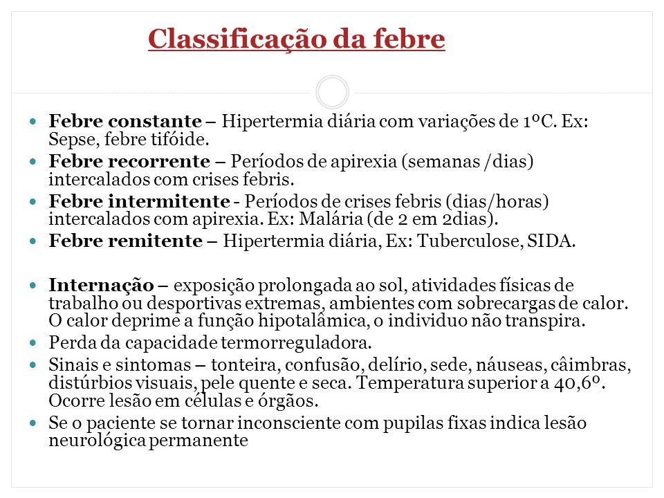 Classificação da febre Febre constante – Hipertermia diária com variações de 1ºC. Ex: Sepse, febre tifóide. Febre recorrente – Períodos de apirexia (s