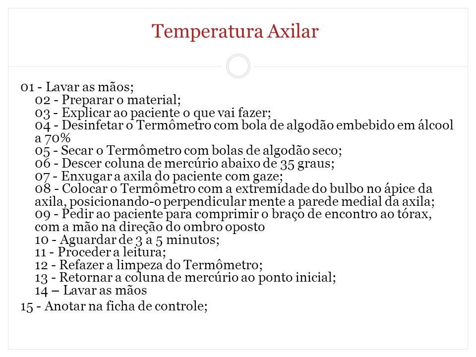 Temperatura Axilar 01 - Lavar as mãos; 02 - Preparar o material; 03 - Explicar ao paciente o que vai fazer; 04 - Desinfetar o Termômetro com bola de a