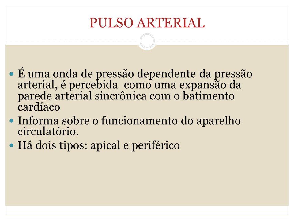 PULSO ARTERIAL É uma onda de pressão dependente da pressão arterial, é percebida como uma expansão da parede arterial sincrônica com o batimento cardí