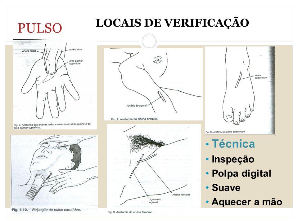 PULSO LOCAIS DE VERIFICAÇÃO Técnica Inspeção Polpa digital Suave Aquecer a mão