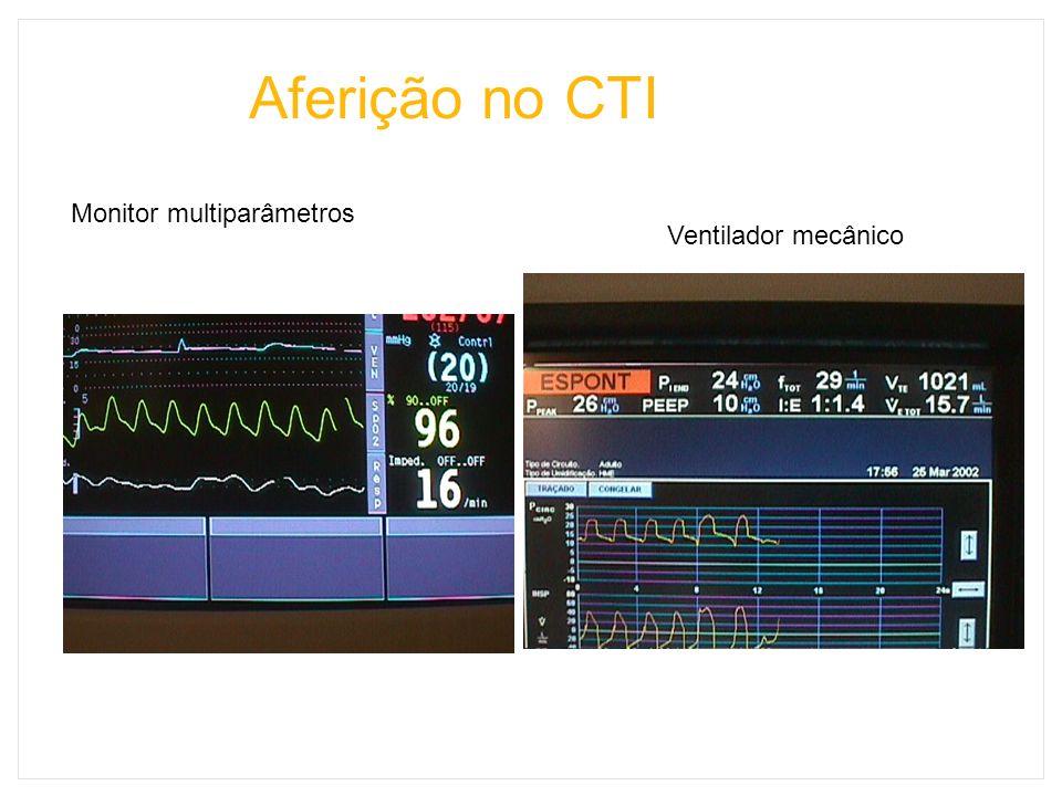 Aferição no CTI Monitor multiparâmetros Ventilador mecânico
