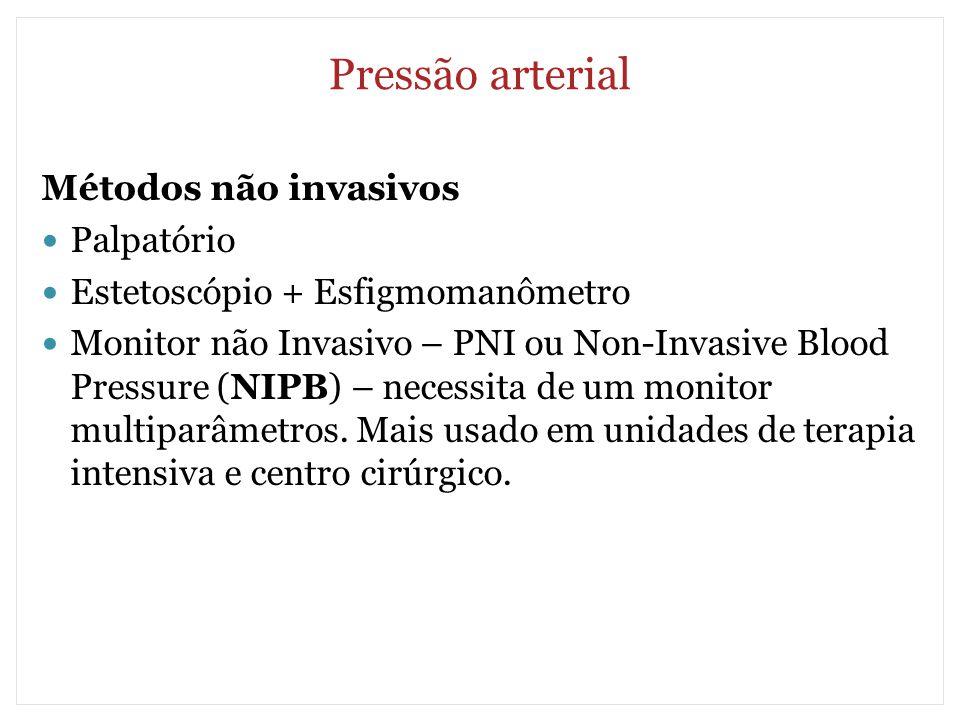 Pressão arterial Métodos não invasivos Palpatório Estetoscópio + Esfigmomanômetro Monitor não Invasivo – PNI ou Non-Invasive Blood Pressure (NIPB) – n