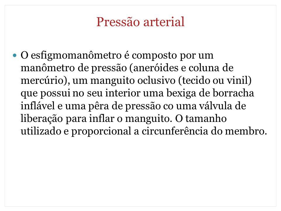 Pressão arterial O esfigmomanômetro é composto por um manômetro de pressão (aneróides e coluna de mercúrio), um manguito oclusivo (tecido ou vinil) qu