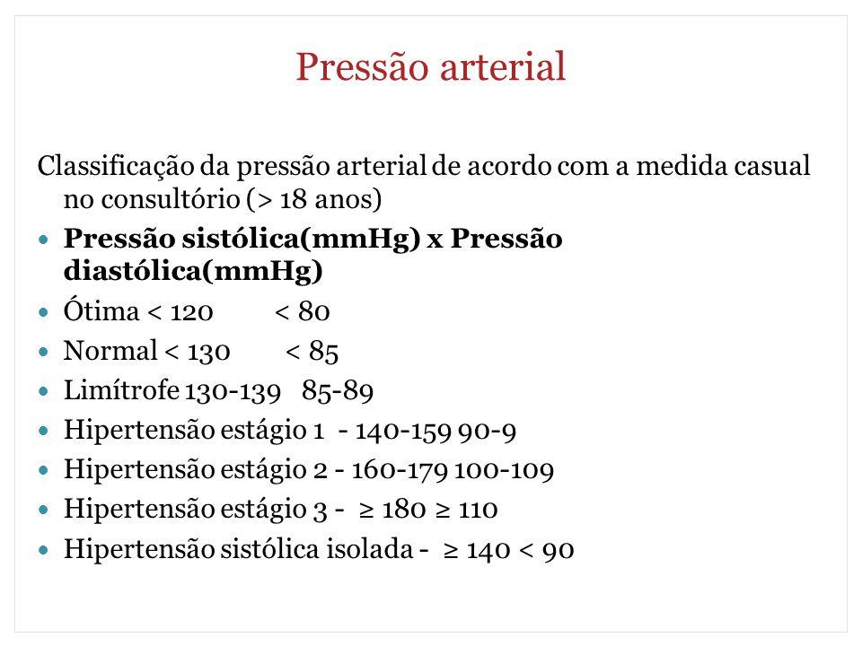 Pressão arterial Classificação da pressão arterial de acordo com a medida casual no consultório (> 18 anos) Pressão sistólica(mmHg) x Pressão diastóli