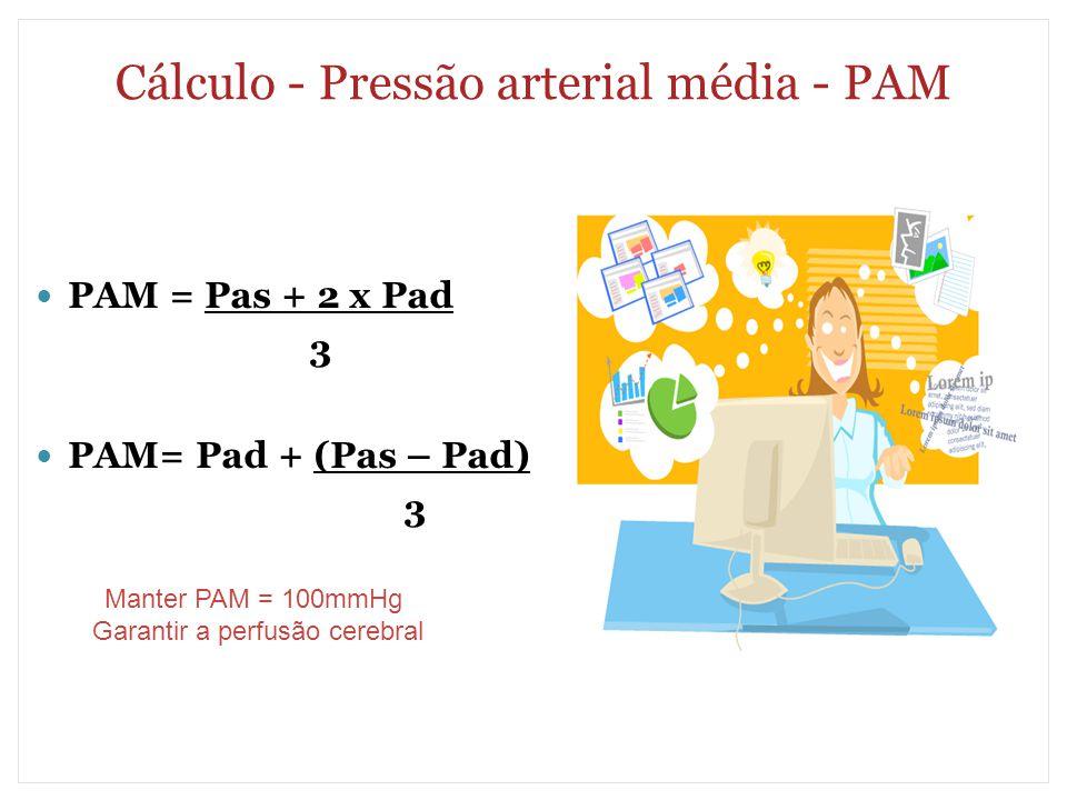 Cálculo - Pressão arterial média - PAM PAM = Pas + 2 x Pad 3 PAM= Pad + (Pas – Pad) 3 Manter PAM = 100mmHg Garantir a perfusão cerebral