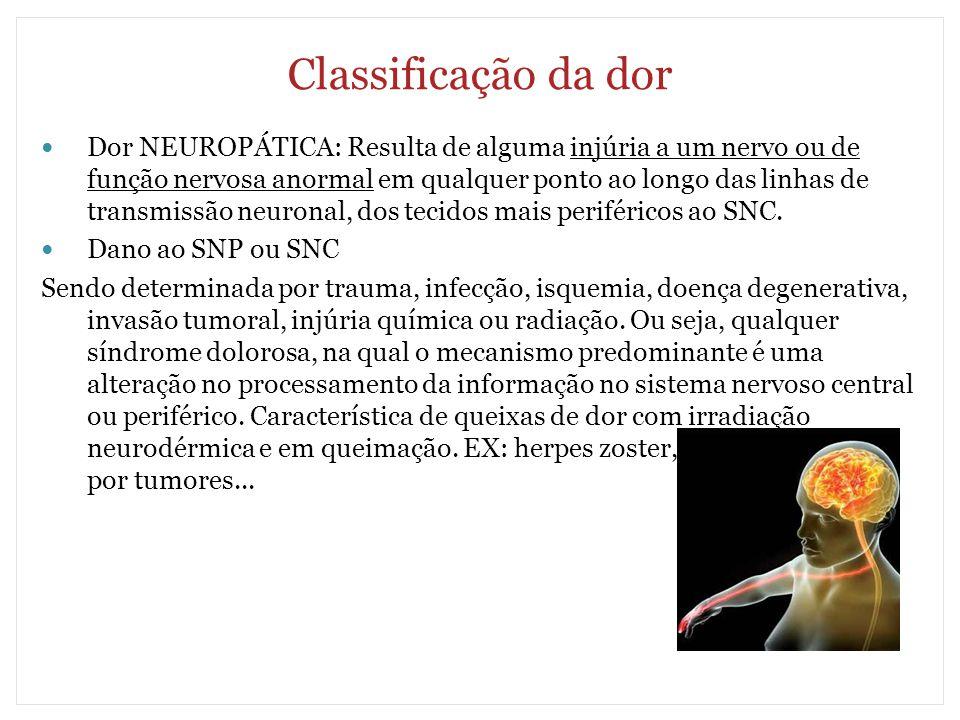 Classificação da dor Dor NEUROPÁTICA: Resulta de alguma injúria a um nervo ou de função nervosa anormal em qualquer ponto ao longo das linhas de trans