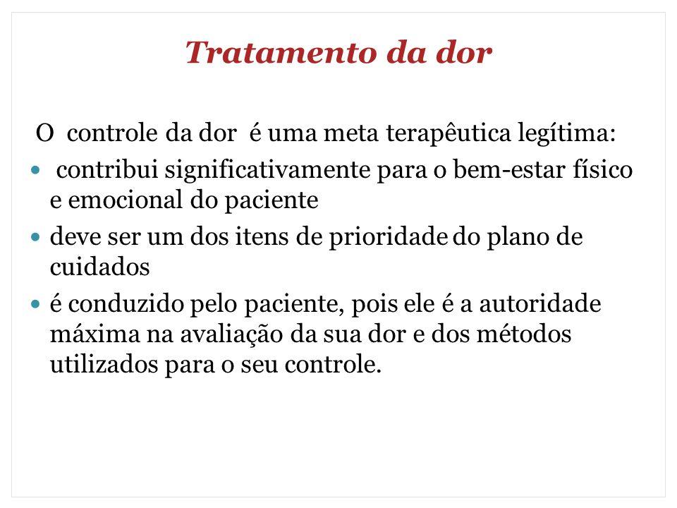 Tratamento da dor O controle da dor é uma meta terapêutica legítima: contribui significativamente para o bem-estar físico e emocional do paciente deve
