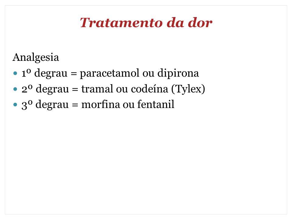 Tratamento da dor Analgesia 1º degrau = paracetamol ou dipirona 2º degrau = tramal ou codeína (Tylex) 3º degrau = morfina ou fentanil