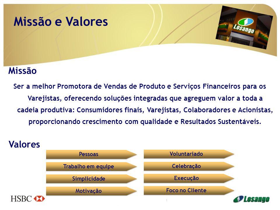 Missão e Valores Missão Ser a melhor Promotora de Vendas de Produto e Serviços Financeiros para os Varejistas, oferecendo soluções integradas que agre