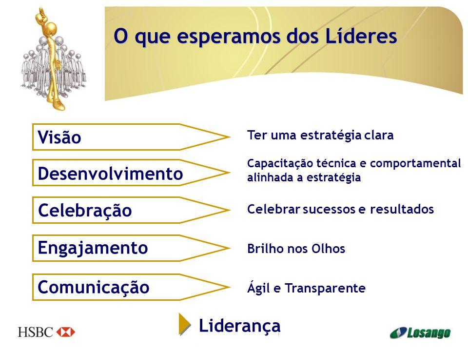 Visão Desenvolvimento Celebração Engajamento Comunicação Liderança Ter uma estratégia clara Capacitação técnica e comportamental alinhada a estratégia Celebrar sucessos e resultados Brilho nos Olhos Ágil e Transparente