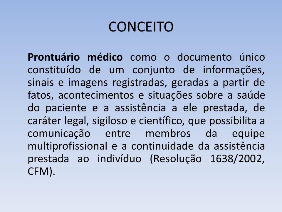 CONCEITO Prontuário médico como o documento único constituído de um conjunto de informações, sinais e imagens registradas, geradas a partir de fatos,