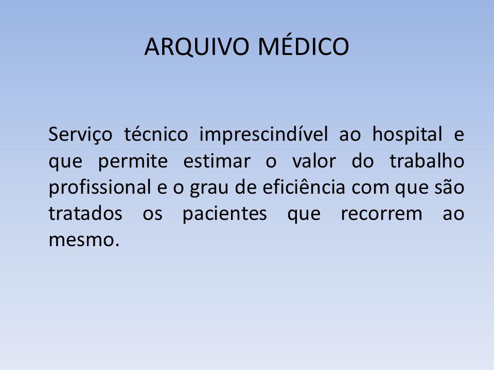 ARQUIVO MÉDICO Serviço técnico imprescindível ao hospital e que permite estimar o valor do trabalho profissional e o grau de eficiência com que são tratados os pacientes que recorrem ao mesmo.