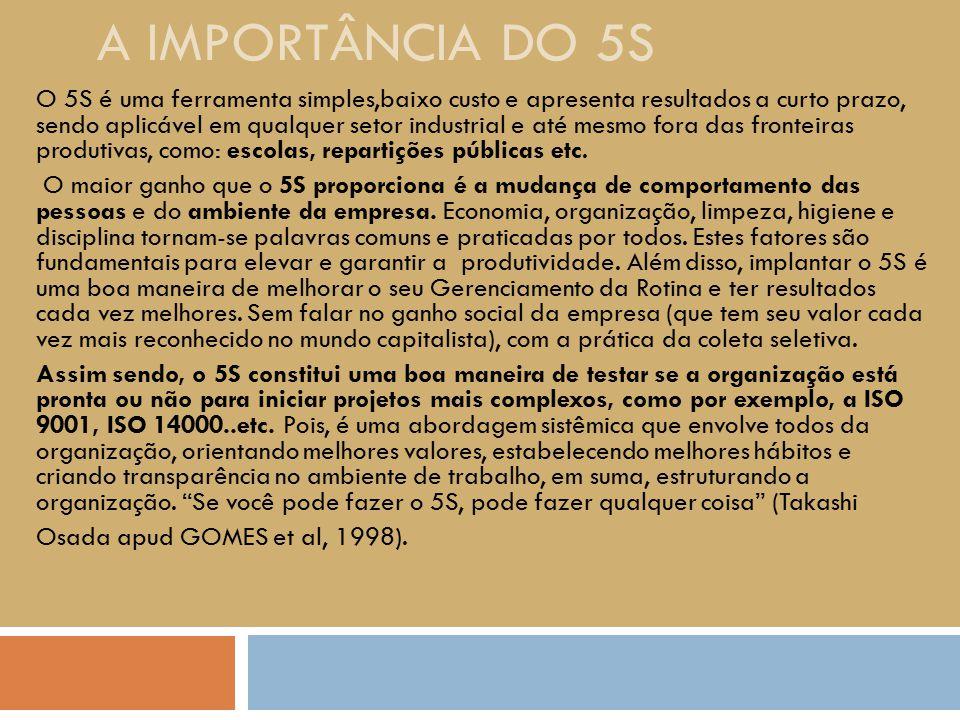 A IMPORTÂNCIA DO 5S O 5S é uma ferramenta simples,baixo custo e apresenta resultados a curto prazo, sendo aplicável em qualquer setor industrial e até
