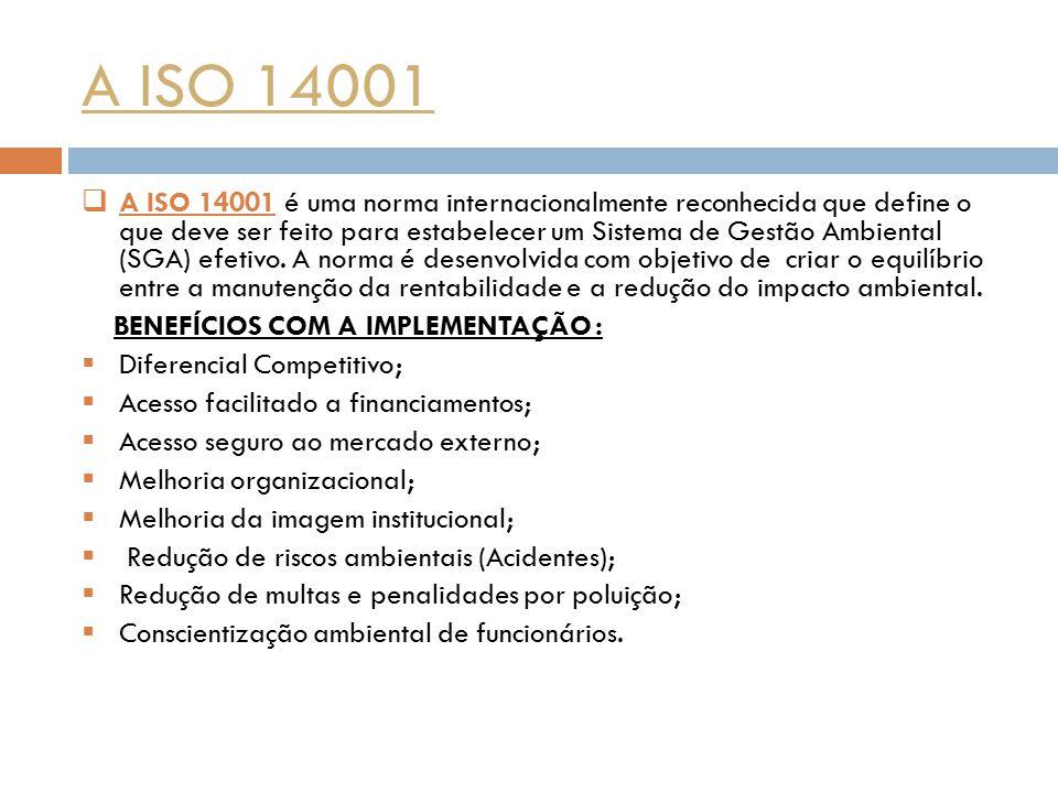 A ISO 14001  A ISO 14001 é uma norma internacionalmente reconhecida que define o que deve ser feito para estabelecer um Sistema de Gestão Ambiental (