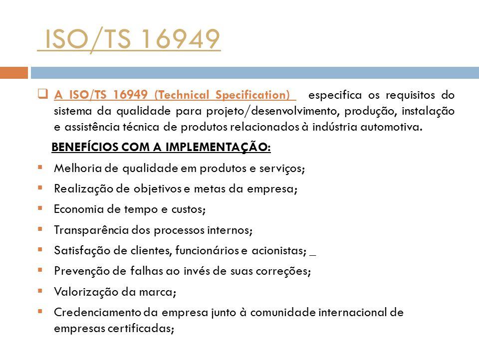 ISO/TS 16949  A ISO/TS 16949 (Technical Specification) especifica os requisitos do sistema da qualidade para projeto/desenvolvimento, produção, insta