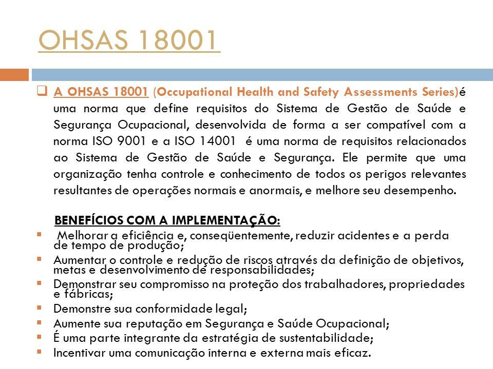 OHSAS 18001  A OHSAS 18001 (Occupational Health and Safety Assessments Series) é uma norma que define requisitos do Sistema de Gestão de Saúde e Segu