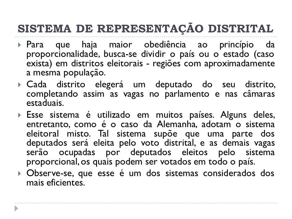 SISTEMA DE REPRESENTAÇÃO DISTRITAL  Para que haja maior obediência ao princípio da proporcionalidade, busca-se dividir o país ou o estado (caso exista) em distritos eleitorais - regiões com aproximadamente a mesma população.