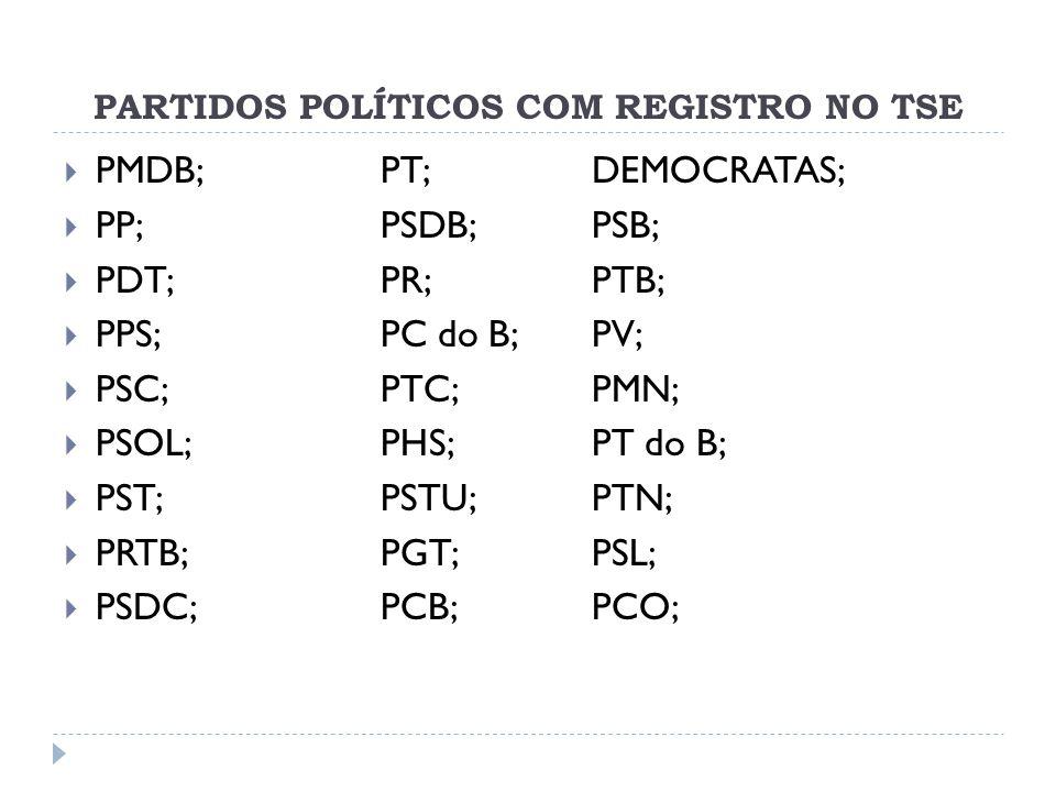 PARTIDOS POLÍTICOS COM REGISTRO NO TSE  PMDB; PT; DEMOCRATAS;  PP; PSDB;PSB;  PDT; PR; PTB;  PPS; PC do B; PV;  PSC; PTC; PMN;  PSOL; PHS; PT do B;  PST; PSTU; PTN;  PRTB; PGT;PSL;  PSDC;PCB; PCO;