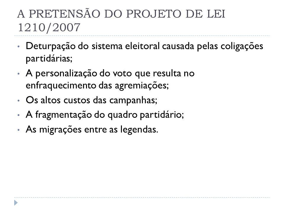 A PRETENSÃO DO PROJETO DE LEI 1210/2007 Deturpação do sistema eleitoral causada pelas coligações partidárias; A personalização do voto que resulta no enfraquecimento das agremiações; Os altos custos das campanhas; A fragmentação do quadro partidário; As migrações entre as legendas.