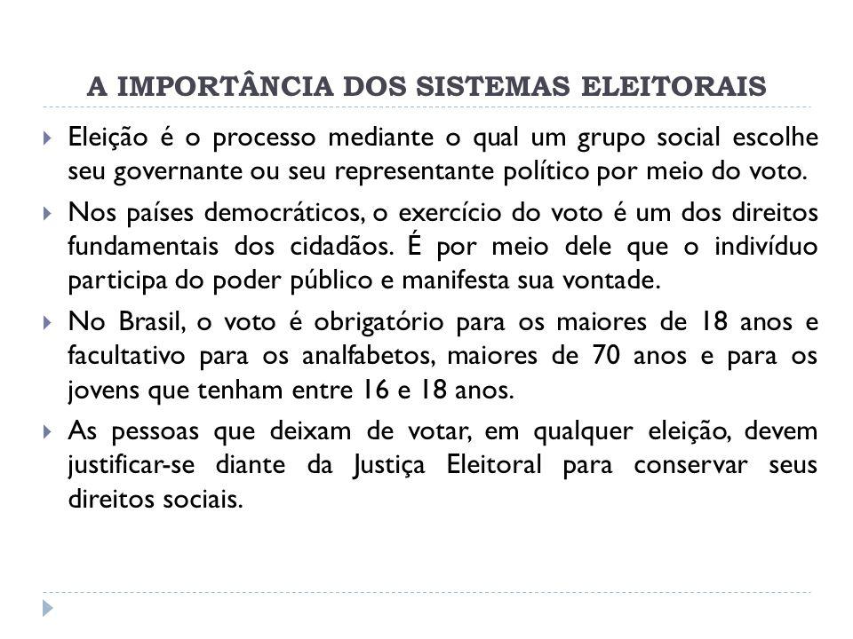 A IMPORTÂNCIA DOS SISTEMAS ELEITORAIS  Eleição é o processo mediante o qual um grupo social escolhe seu governante ou seu representante político por meio do voto.