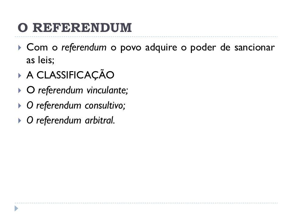 O REFERENDUM  Com o referendum o povo adquire o poder de sancionar as leis;  A CLASSIFICAÇÃO  O referendum vinculante;  O referendum consultivo;  O referendum arbitral.