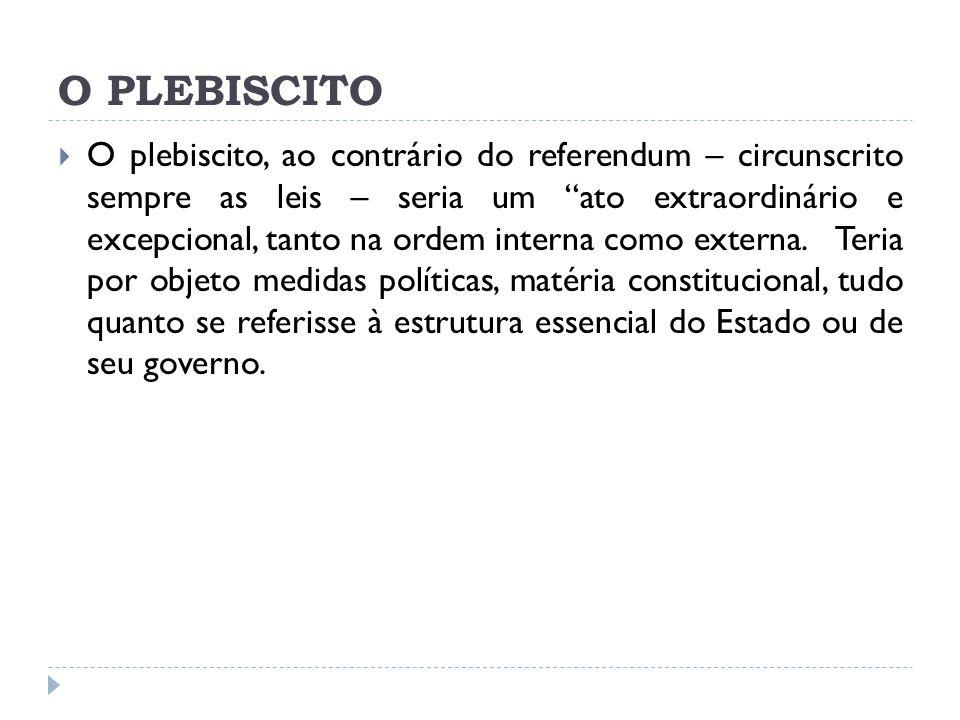 O PLEBISCITO  O plebiscito, ao contrário do referendum – circunscrito sempre as leis – seria um ato extraordinário e excepcional, tanto na ordem interna como externa.