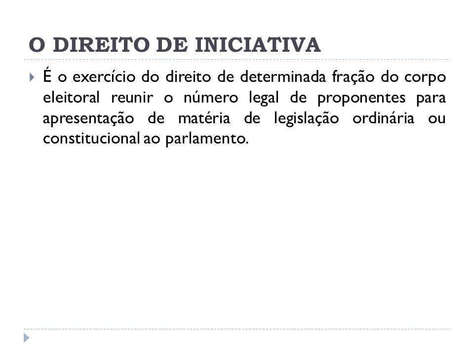 O DIREITO DE INICIATIVA  É o exercício do direito de determinada fração do corpo eleitoral reunir o número legal de proponentes para apresentação de matéria de legislação ordinária ou constitucional ao parlamento.