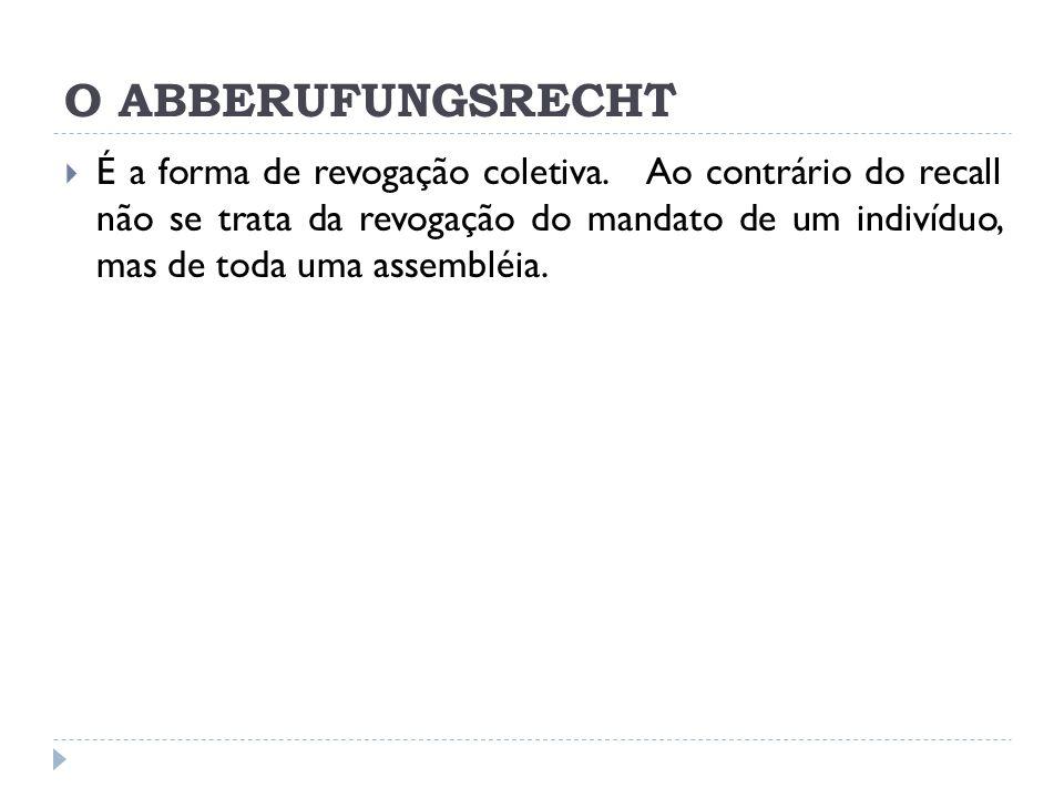 O ABBERUFUNGSRECHT  É a forma de revogação coletiva.