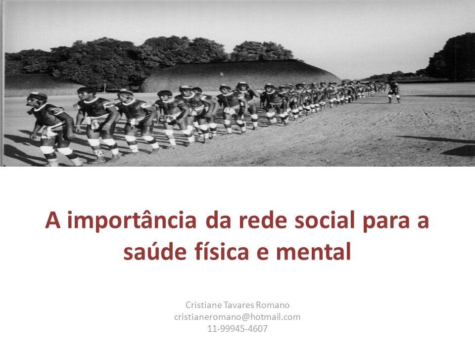 A importância da rede social para a saúde física e mental Cristiane Tavares Romano cristianeromano@hotmail.com 11-99945-4607